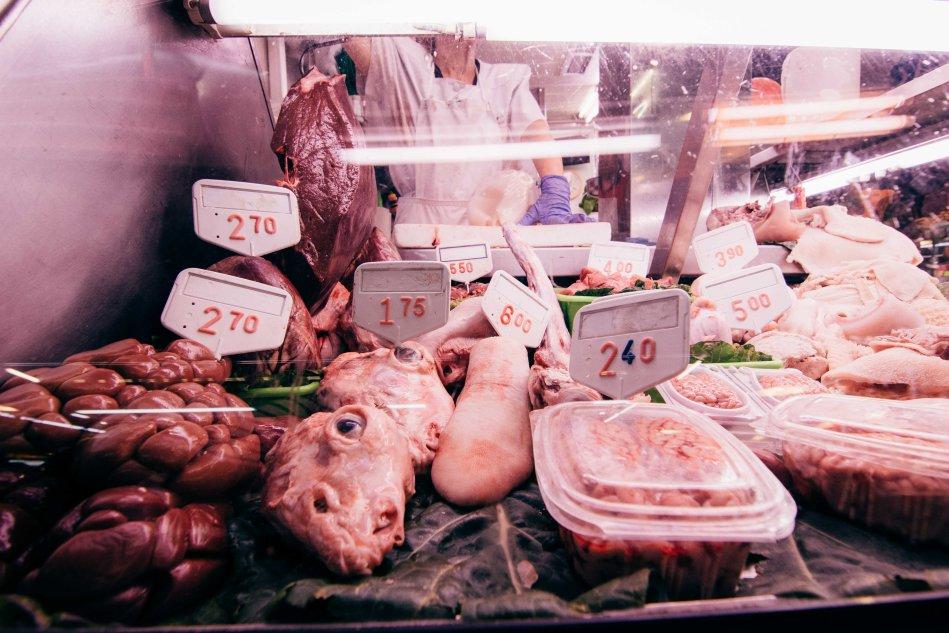 Lamb instestine, head, tongue and brain for sale in La Boqueria.